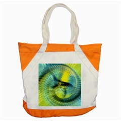 Light Blue Yellow Abstract Fractal Accent Tote Bag by designworld65