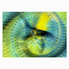 Light Blue Yellow Abstract Fractal Large Glasses Cloth by designworld65