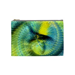 Light Blue Yellow Abstract Fractal Cosmetic Bag (medium)  by designworld65