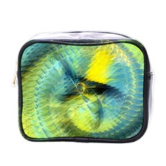 Light Blue Yellow Abstract Fractal Mini Toiletries Bags by designworld65