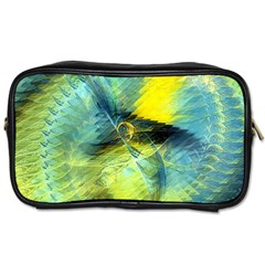 Light Blue Yellow Abstract Fractal Toiletries Bags by designworld65