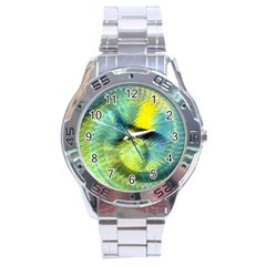 Light Blue Yellow Abstract Fractal Stainless Steel Analogue Watch by designworld65