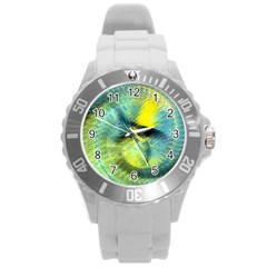 Light Blue Yellow Abstract Fractal Round Plastic Sport Watch (l) by designworld65