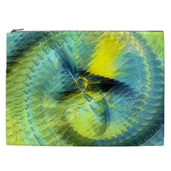 Light Blue Yellow Abstract Fractal Cosmetic Bag (xxl)  by designworld65