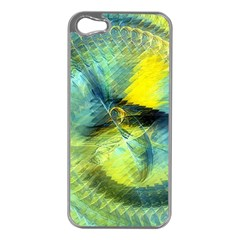 Light Blue Yellow Abstract Fractal Apple Iphone 5 Case (silver) by designworld65