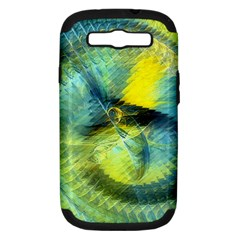 Light Blue Yellow Abstract Fractal Samsung Galaxy S Iii Hardshell Case (pc+silicone) by designworld65