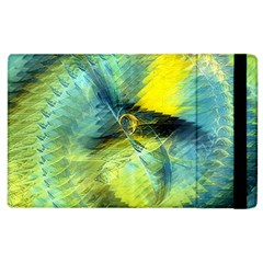 Light Blue Yellow Abstract Fractal Apple Ipad 2 Flip Case by designworld65