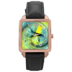 Light Blue Yellow Abstract Fractal Rose Gold Leather Watch  by designworld65