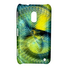 Light Blue Yellow Abstract Fractal Nokia Lumia 620 by designworld65