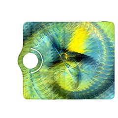 Light Blue Yellow Abstract Fractal Kindle Fire Hdx 8 9  Flip 360 Case by designworld65