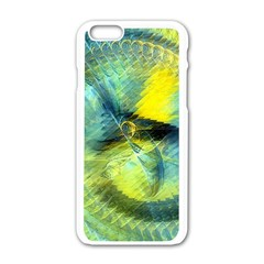 Light Blue Yellow Abstract Fractal Apple Iphone 6/6s White Enamel Case by designworld65