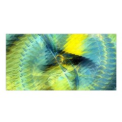 Light Blue Yellow Abstract Fractal Satin Shawl by designworld65