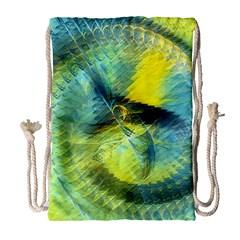 Light Blue Yellow Abstract Fractal Drawstring Bag (large) by designworld65