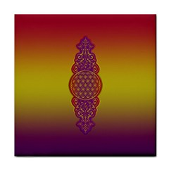 Flower Of Life Vintage Gold Ornaments Red Purple Olive Tile Coasters by EDDArt