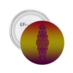 Flower Of Life Vintage Gold Ornaments Red Purple Olive 2 25  Buttons by EDDArt
