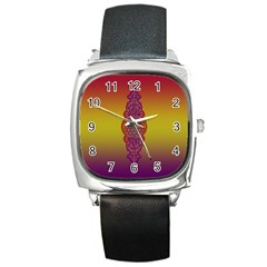 Flower Of Life Vintage Gold Ornaments Red Purple Olive Square Metal Watch by EDDArt
