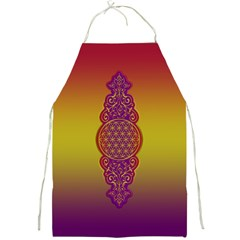 Flower Of Life Vintage Gold Ornaments Red Purple Olive Full Print Aprons by EDDArt