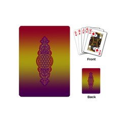 Flower Of Life Vintage Gold Ornaments Red Purple Olive Playing Cards (mini)  by EDDArt