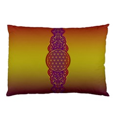 Flower Of Life Vintage Gold Ornaments Red Purple Olive Pillow Case (two Sides) by EDDArt