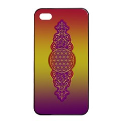 Flower Of Life Vintage Gold Ornaments Red Purple Olive Apple Iphone 4/4s Seamless Case (black) by EDDArt