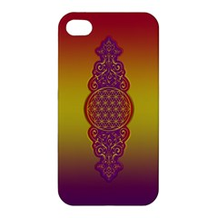 Flower Of Life Vintage Gold Ornaments Red Purple Olive Apple Iphone 4/4s Premium Hardshell Case by EDDArt