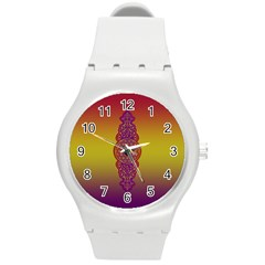 Flower Of Life Vintage Gold Ornaments Red Purple Olive Round Plastic Sport Watch (m) by EDDArt