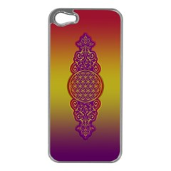 Flower Of Life Vintage Gold Ornaments Red Purple Olive Apple Iphone 5 Case (silver) by EDDArt