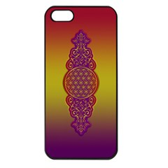 Flower Of Life Vintage Gold Ornaments Red Purple Olive Apple Iphone 5 Seamless Case (black) by EDDArt