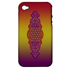 Flower Of Life Vintage Gold Ornaments Red Purple Olive Apple Iphone 4/4s Hardshell Case (pc+silicone) by EDDArt
