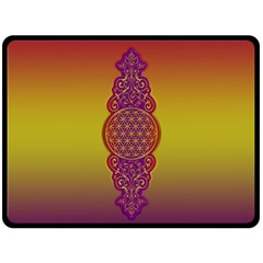 Flower Of Life Vintage Gold Ornaments Red Purple Olive Double Sided Fleece Blanket (large)  by EDDArt