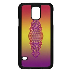 Flower Of Life Vintage Gold Ornaments Red Purple Olive Samsung Galaxy S5 Case (black) by EDDArt