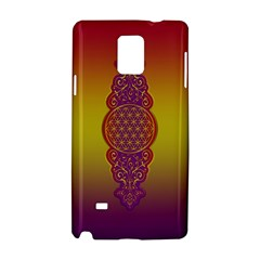 Flower Of Life Vintage Gold Ornaments Red Purple Olive Samsung Galaxy Note 4 Hardshell Case by EDDArt