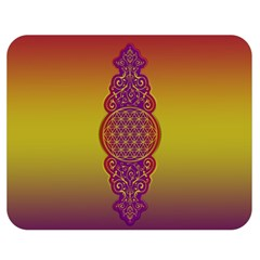 Flower Of Life Vintage Gold Ornaments Red Purple Olive Double Sided Flano Blanket (medium)  by EDDArt