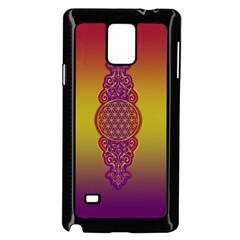 Flower Of Life Vintage Gold Ornaments Red Purple Olive Samsung Galaxy Note 4 Case (black) by EDDArt
