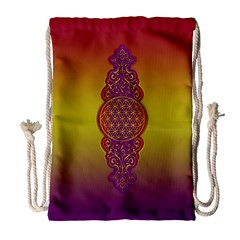 Flower Of Life Vintage Gold Ornaments Red Purple Olive Drawstring Bag (large) by EDDArt