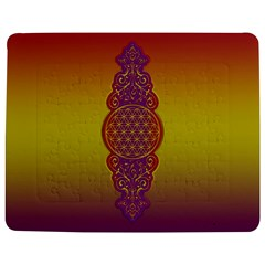 Flower Of Life Vintage Gold Ornaments Red Purple Olive Jigsaw Puzzle Photo Stand (rectangular) by EDDArt
