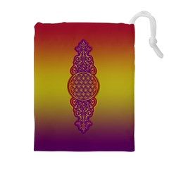 Flower Of Life Vintage Gold Ornaments Red Purple Olive Drawstring Pouches (extra Large) by EDDArt