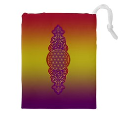 Flower Of Life Vintage Gold Ornaments Red Purple Olive Drawstring Pouches (xxl) by EDDArt