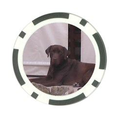 Chocolate Lab Laying Poker Chip Card Guards by TailWags