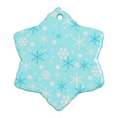 Blue Xmas Pattern Ornament (snowflake)  by Valentinaart