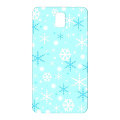 Blue Xmas Pattern Samsung Galaxy Note 3 N9005 Hardshell Back Case by Valentinaart