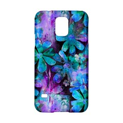 Blue On Purple Vintage Flowers Samsung Galaxy S5 Hardshell Case  by KirstenStar