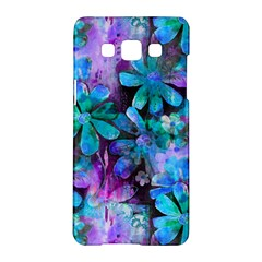 Blue On Purple Vintage Flowers Samsung Galaxy A5 Hardshell Case  by KirstenStar