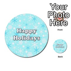 Happy Holidays Blue Pattern Multi Purpose Cards (round)  by Valentinaart