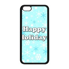 Happy Holidays Blue Pattern Apple Iphone 5c Seamless Case (black) by Valentinaart