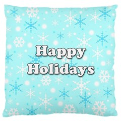 Happy Holidays Blue Pattern Large Flano Cushion Case (two Sides) by Valentinaart