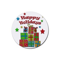 Happy Holidays   Gifts And Stars Rubber Round Coaster (4 Pack)  by Valentinaart