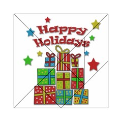 Happy Holidays   Gifts And Stars Acrylic Tangram Puzzle (6  X 6 ) by Valentinaart