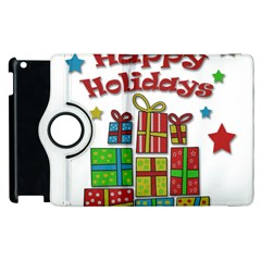 Happy Holidays   Gifts And Stars Apple Ipad 3/4 Flip 360 Case by Valentinaart