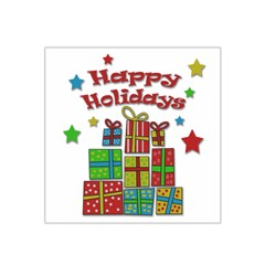 Happy Holidays   Gifts And Stars Satin Bandana Scarf by Valentinaart